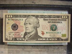 10-USA-Dollar-US-USD-Hamilton-Note-Note-echtes-Geld-2013-money