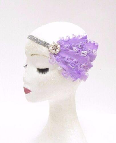 Lilas Violet Clair Argent Plume Blanche Bandeau 1920 S Garçonne Coiffe 2801