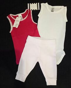 3-PIECES-TINY-LITTLE-BONDS-BABY-CLUB-BODYSUIT-TOP-TEE-PANTS-GIRL-BOY-RED-WHITE
