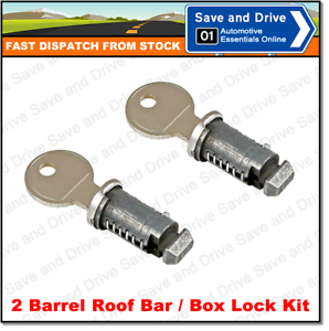 Set Of 2 Roof Bar Roof Rack Roof Box Barrel Security Locks Complete With 2 Keys