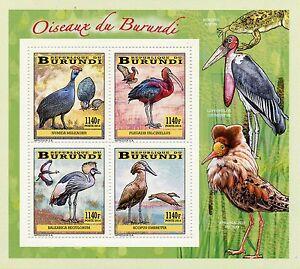 Burundi 2014 MNH Birds of Burundi Wading Birds 4v Deluxe M/S Cranes Ibis