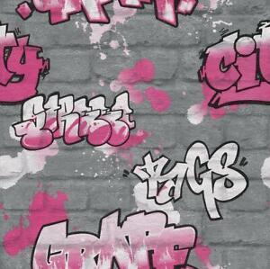 Détails Sur Rasch Mur De Briques Enfants Filles Graffiti Argent Couleur Rose Splash Peinture 237818 Afficher Le Titre D Origine