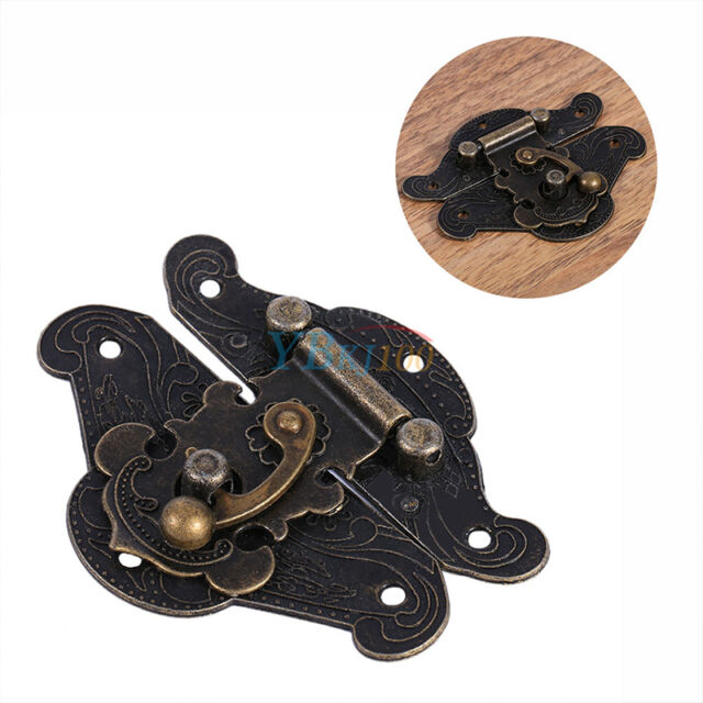 Vintage Zinc Alloy Latch Hasp Pad Chest Lock Plate For Wood Jewelry Box Cabinet