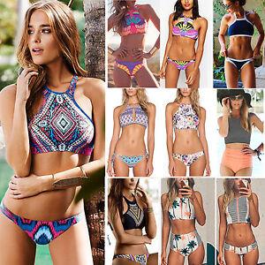 83175552cb Women Halter Neck Bikini Set Swimwear Tank Top Push Up Bra Swimsuit ...