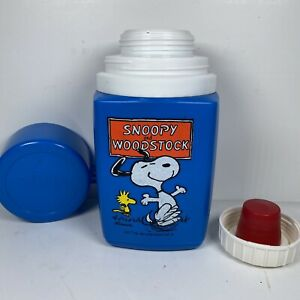VINTAGE-PEANUTS-SNOOPY-amp-WOODSTOCK-8OZ-KING-SEELY-LUNCHBOX-THERMOS-NICE