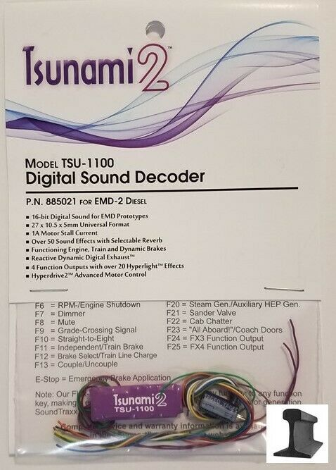Soundtraxx, New 2019, Tsunami 2, TSU -1100 EMD -2 Diesel, ljudavkodare, 885021