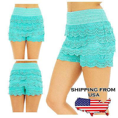 Crochet Tiered Lace Short Skirt Pants shorts Cotton Super Cute S~L TD Collection