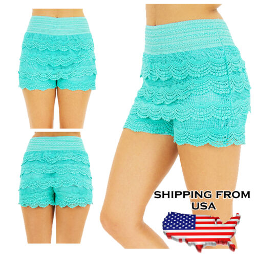 Fashion Womens Korean Sweet Crochet Tiered Lace Shorts Mini Skorts Short Pants