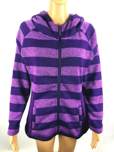 NEW Womens Purple Striped Fleece Sweater Hoodie Sizes Available S,M,L,XL,2XL