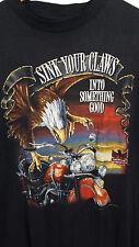 VTG American Biker 3D EMBLEM Eagle L Soft Thin Shirt MADE USA Harley Davidson