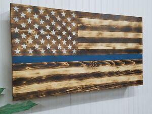759a8e6dfcb THIN BLUE LINE AMERICAN FLAG GUN CONCEALMENT CABINET SECRET HIDDEN ...