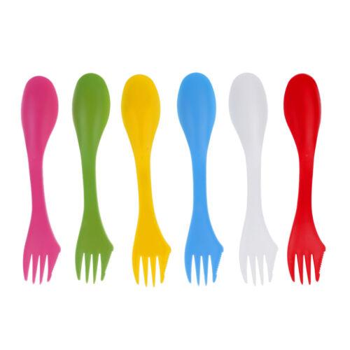 12Pieces Set Camping Utensils Spork Combo Travel Gadget Spoon Fork Cutlery