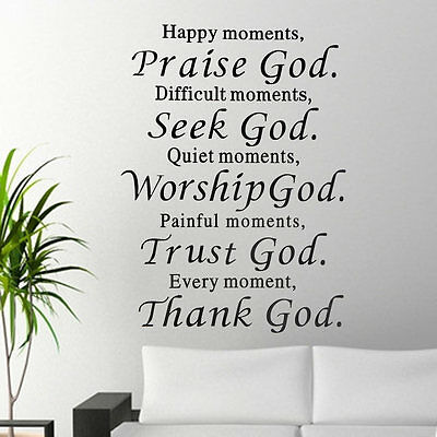 HOT Happy Moment Praise God Quote DIY Vinyl Wall Sticker Mural Decals Removable