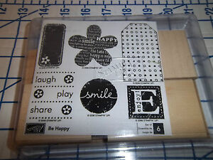 Stampin Up BE HAPPY Set of 6 Stamps New Unmounted 2006