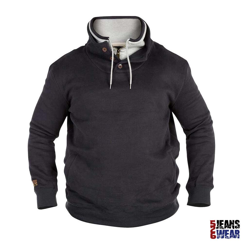 D555  Herren Double Collar Fashion Sweatshirt Jumper Big Größe 1XL 2XL 3XL 4XL. BNWT