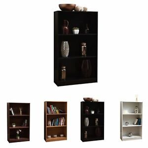 Cambridge 3 Tier Medium Bookcase Display Shelving Storage Unit Wooden Stand