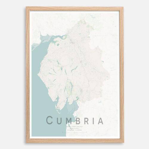 England  County Map Print Wall Art Poster A3 A2 CUMBRIA Map Print