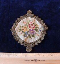 French 19thC (1870) Petit Point On Silk-Gold Metallic Lace Trim Applique~Dolls