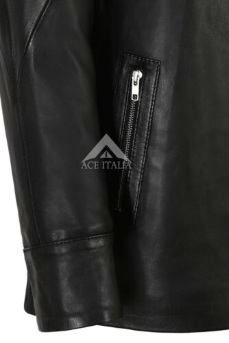 Women Hooded Leather Jacket Fur Hooded Hip Length Parka Hoodie Jacket Isabel 142