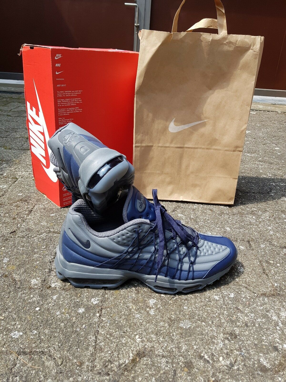 Nike Air Max 95 Ultra SE, Sneaker Herrenschuh Turnschuhe, EU 46, Grey & Navy NEU