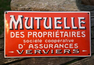 Original Enamel Sign Mutuelle Insurance France Seltenes Collector's Item
