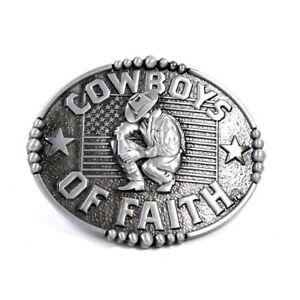 WESTERN-STEER-Cowboys-of-Faith-Rodeo-Style-Belt-Buckle-Buck-USA