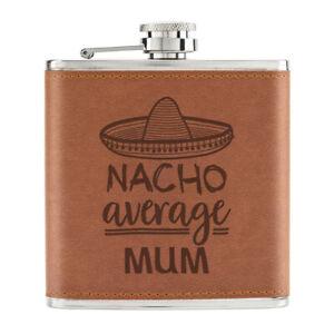 Nacho-Moyenne-Maman-170ml-Cuir-PU-Hip-Flasque-Fauve-Worlds-Best-Fete-des-Meres