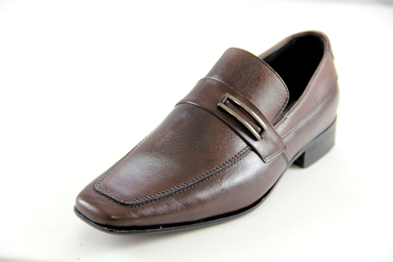 Sarreti Men's Leather Brown Slip On Dress shoes Style