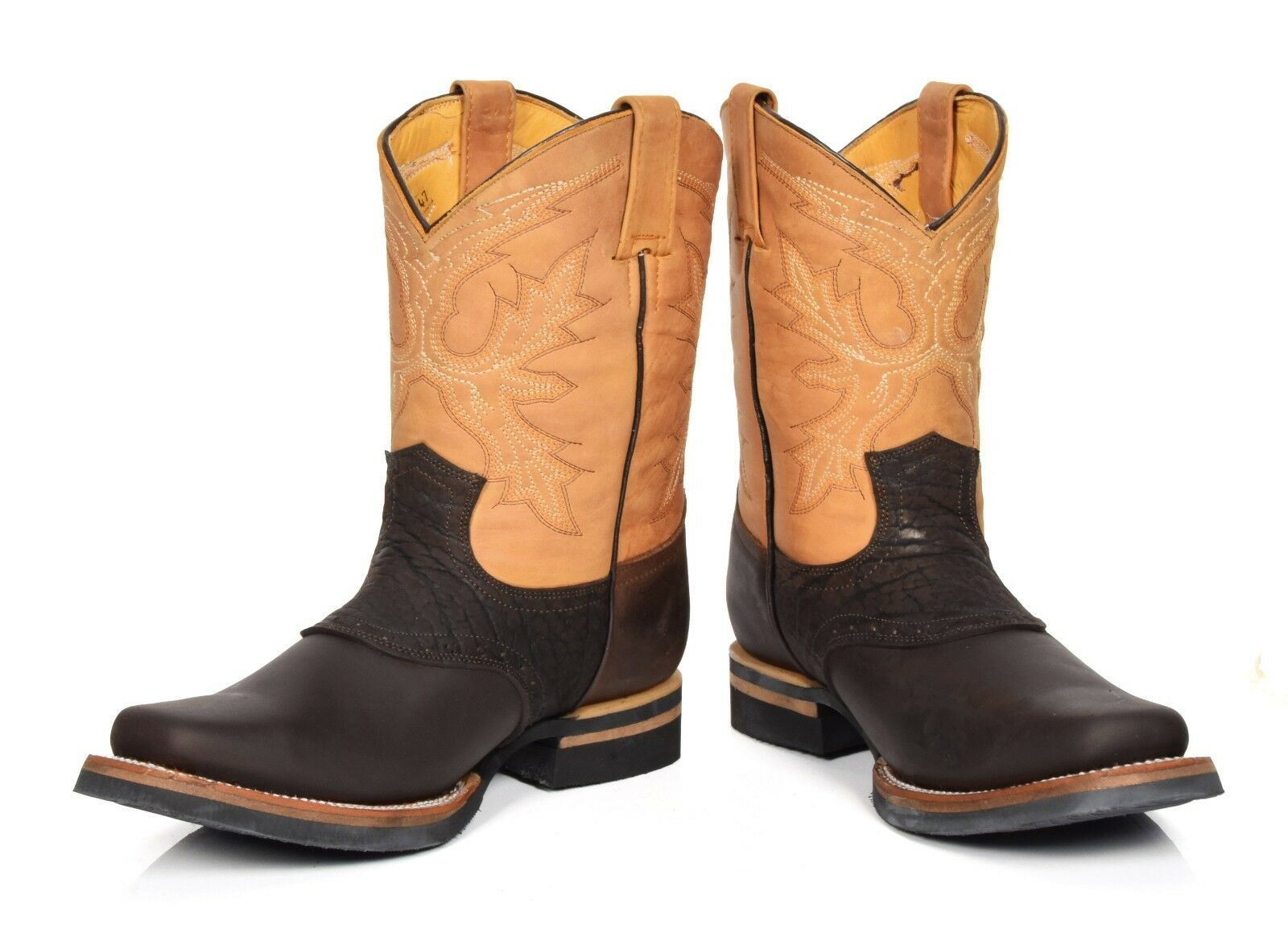 Cowboy Boots Brown Brown Brown Multi Leather Slip On Square Toe Western Style Grinders Boots 16c31e