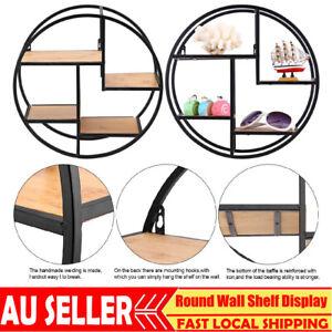 Industrial Style Craft Round Wall Shelf Display Rack Storage Unit Home Decor AU