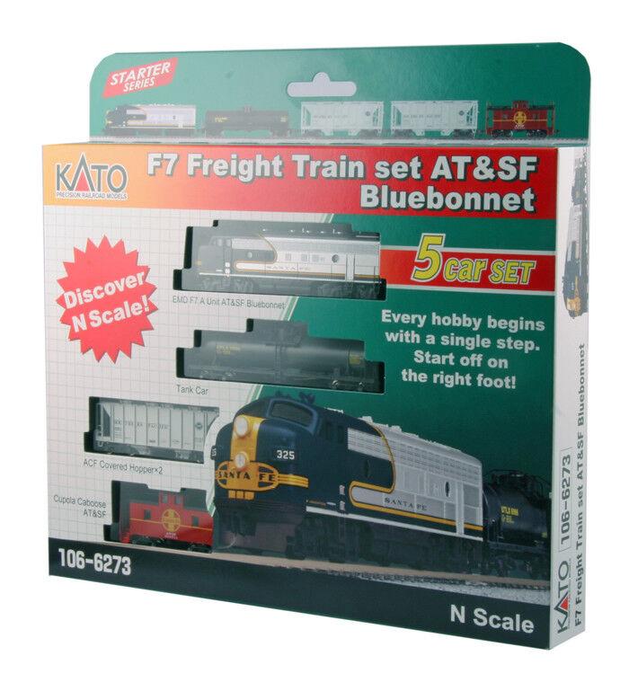 NUOVO Kato 1066273 N Scala F7 ATSF F7A treno merci Hopper Auto Serbatoio Set Caboose