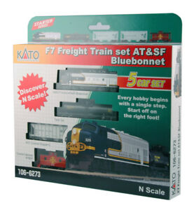 NEW-Kato-106-6273-N-Scale-F7-ATSF-F7A-Train-Freight-Hopper-Tank-Car-Caboose-Set