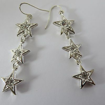 TRIPLE SPARKLY SILVER DIAMANTE STARS DROP DANGLE EARRINGS 5cm new gift pouch