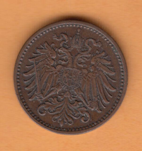 1895 Austria 1 Heller Coin Franz Joseph I  ExF