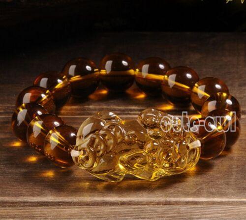 Nouveau 12 mm feng shui Citrine Jaune Pi Yao Pi Xiu Bracelet de perles pour la fortune Luck