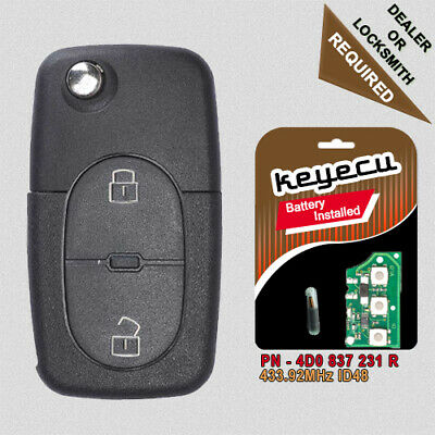 Keyecu Complete Remote key Fob 2 Button 433MHz 4D0 837 231 R for Audi A3 A4 A6 Quattro