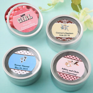 Details About 50 300 Personalized Silver Round Mint Tin Baby Shower Baptism Party Favors