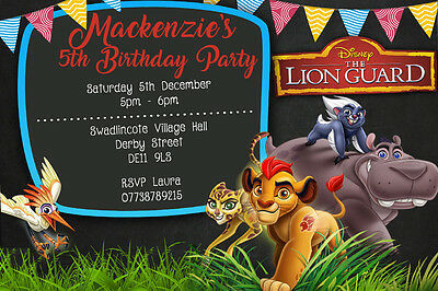 Personalised Boy Girl The Lion Guard Birthday Party Invites Inc Envelopes LG4