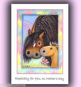 NEW-FOR-2013-HORSE-MARE-AND-FOAL-PAINTING-ART-MOTHERS-DAY-CARD-SUZANNE-LE-GOOD