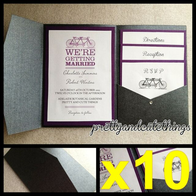 10 X Black Shimmer Wedding Pocket Invitations Diy Pocketfold