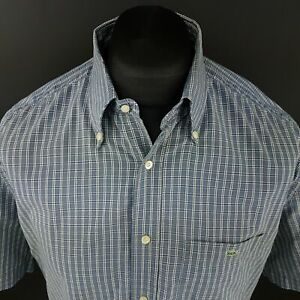 Lacoste-Mens-Vintage-Shirt-43-LARGE-Short-Sleeve-Blue-Regular-Fit-Check-Cotton