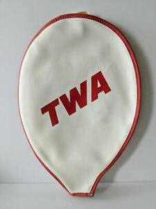 TWA-Trans-World-Airlines-Tennis-Racket-Cover-Bearse-Manufacturing-Made-in-USA