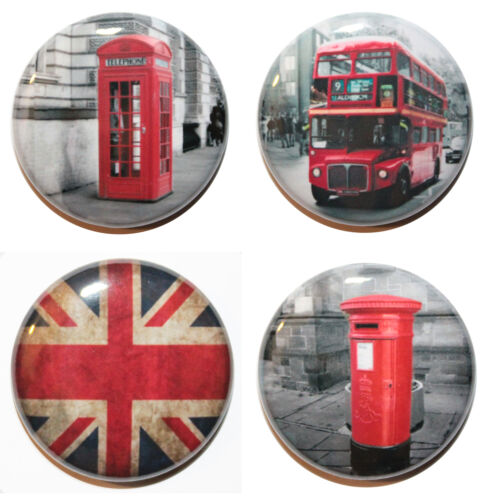 "1/"" MADE IN UK Set of 4 London Inspired Button Badge Pins 25mm"