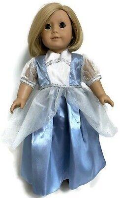 Frozen Blue Cinderella Princess Gown Dress Tiara for American Girl 18 inch Doll