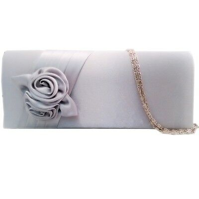 SILVER SATIN FLORAL EVENING LADIES WEDDING CLUTCH PARTY HAND BAG HANDBAG