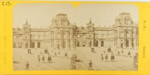 FRANCE-Paris-Instantane-Le-Louvre-Photo-Stereo-Vintage-Albumine-ca-1865