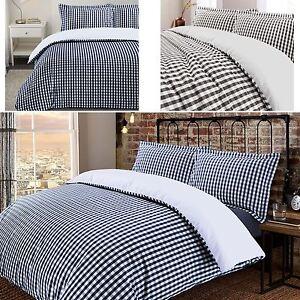 De-Lujo-Gingham-Check-Reversible-100-algodon-T200-conjunto-de-edredon-cubierta-y-fundas-de-almohada