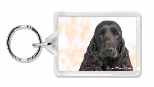 Black Cocker Spaniel 'Love You Mum' Photo Keyring Animal Gift, AD-SC20lymK