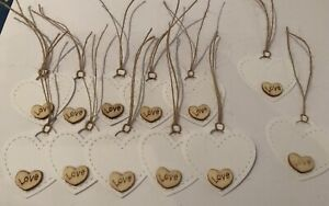 12-White-Vintage-Tags-with-wooden-Love-Hearts-Wedding-Labels-Tags-For-Gifts