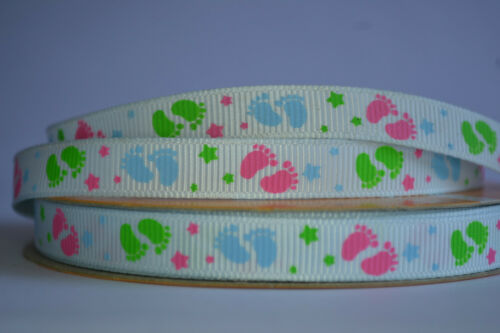 """WHITE BLUE BABY FOOTPRINT STARS grosgrain ribbon 3 mtrs crafts cards 3//8/"""" 10mm"""